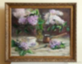 цветы маслом, натюрморт с сиренью, сирень
