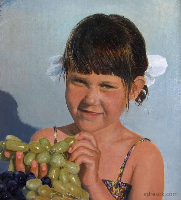 Девочка с виноградом