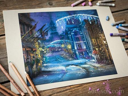пастель, графика, рисунок пастелью, зимний город, снег, рождество
