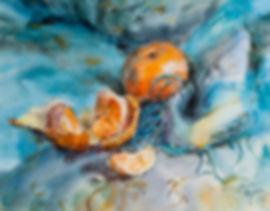 акварель, акварельная техника, живопись акварелью, мандарин, рисунок с мандарином