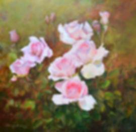 живопись маслом, холст, розы, цветы
