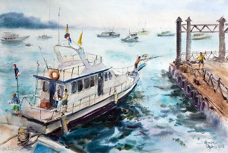 акварель, акварельная техника, живопись акварелью, яхта, море, тропики, Таиланд, дайвинг, причал, порт, яхтинг