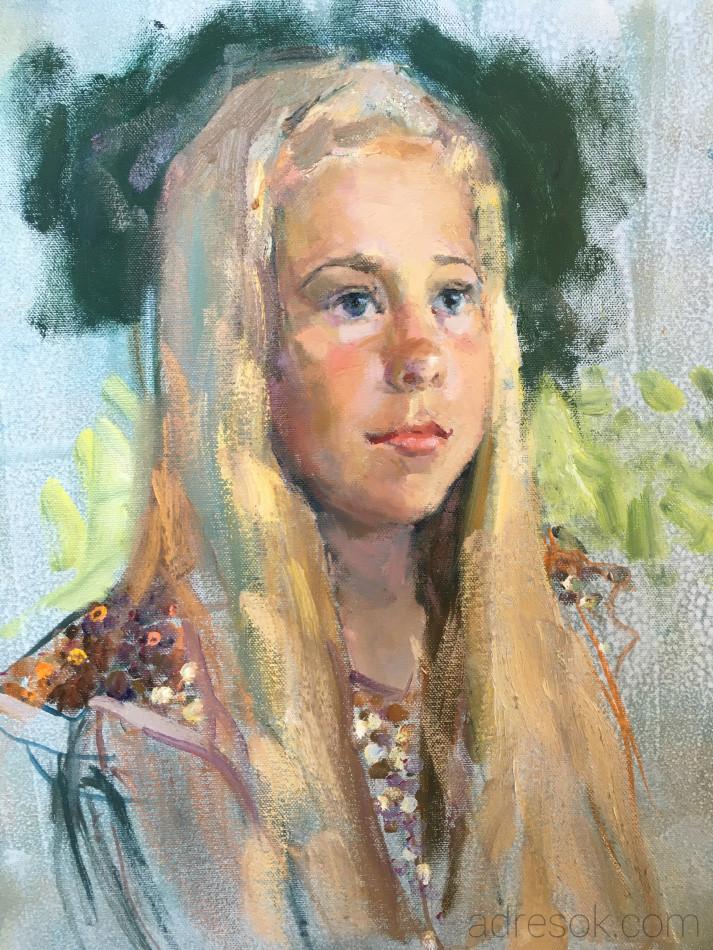 Алиса. Портрет на пленэре.