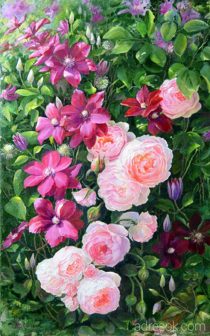 Клематисы с розами