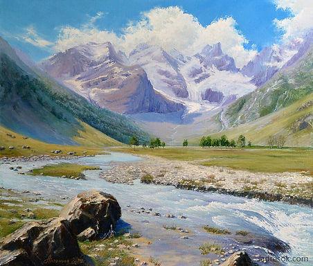 пейзаж маслом, горный пейзах, холст, масло, горы, кавказ