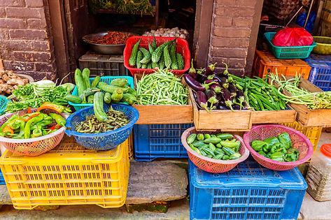 vegetables on display in Nepal market.jp