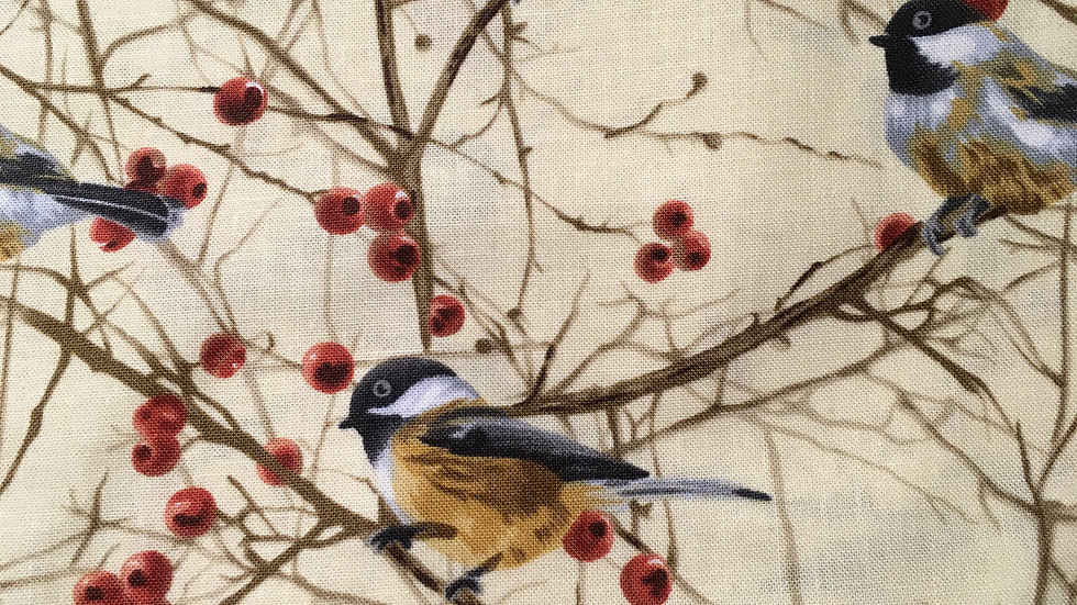 Cotton Fabric Face Covering Chickadee