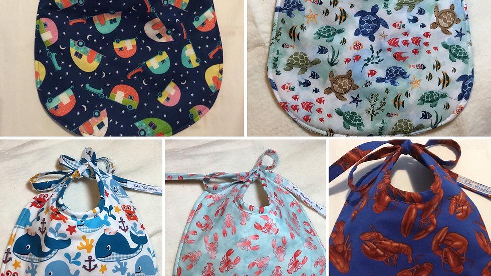 Set of 5 Fabric Baby Bibs