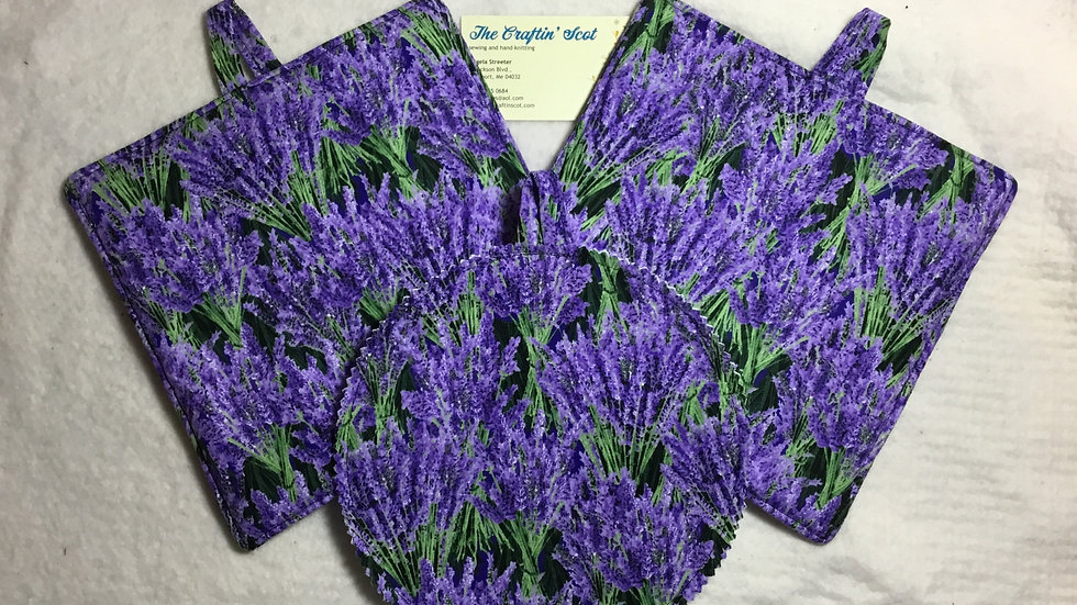 Bunched Lavender Potholders and matching Jar Helper