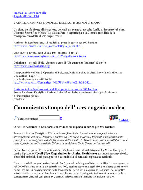 Comunicato stampa IRCCS E. Medea 1 april