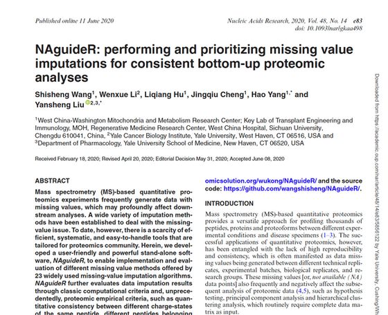 Dealing with NAs by bottom-up proteomic principle
