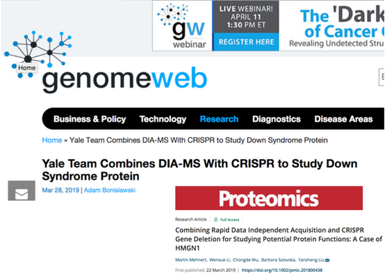 GenomeWeb features the recent DIA-MS study from Liu Lab