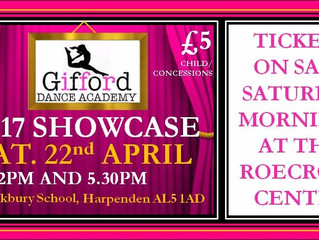 DON'T MISS OUR SHOWCASE  ON 22ND APRIL! TICKETS NOW ON SALE!!