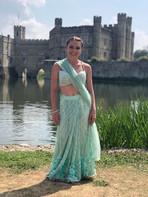Rebecca filming for Bollywood on the set of De De Pyar De