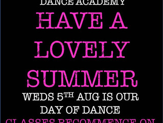 Well done to all dancers for the excellent progress made this term and we hope you enjoy a well earn