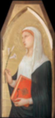Opera originale dell'autore: il viso ispirato a S. Dorotea di Ambrogio Lorenzetti tempera e oro su tavola