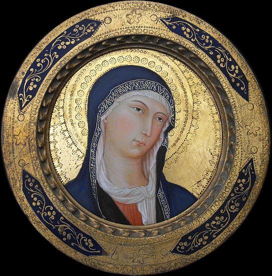 Il dipinto è inserito in cornice originale dei primi del '900. Opera tratta da: Simone Martini, polittico di Orvieto tempera e oro su tavola.