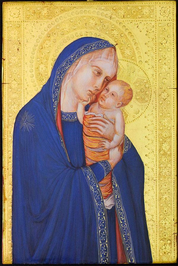 Madonna col Bambino Opera ispirata ad un dipinto di Pietro Lorenzetti, Siena XIV secolo tempera e oro su tavola