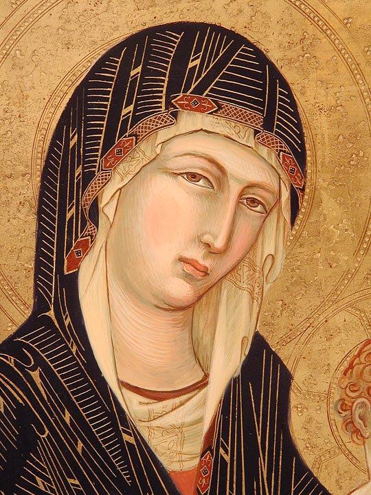 Opera ispirata alla scuola senese del XIV secolo tempera e oro su tavola antica