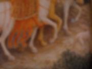 Opera originale dell'autore, ispirato alla Adorazione dei Magi di Gentile da Fabriano. Il dipinto e' inserito in cornice dei primi del novecento. tempera e oro su tavola.