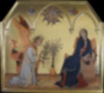 Annunciazione Opera tratta da:Simone Martini Tecnica: Tempera e oro su tavola antica Siena XIV secolo