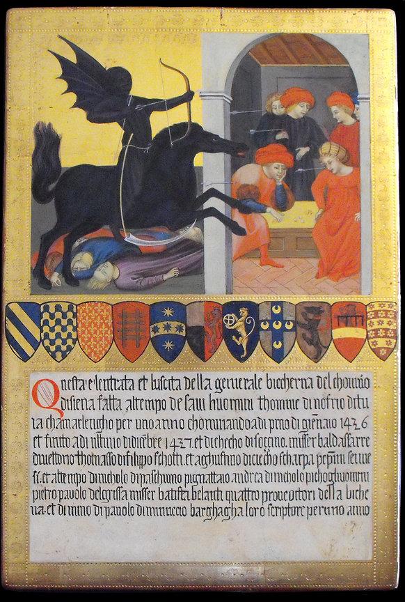Biccherna senese, Opera tratta da Giovanni Di Paolo, Siena, XV secolo tempera e oro su tavola antica