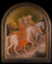 Opera originale dell'autore, ispirato alla Adorazione dei Magi di Gentile da Fabriano. Il dipinto e' inserito in cornicedei primi del novecento. tempera e oro su tavola.