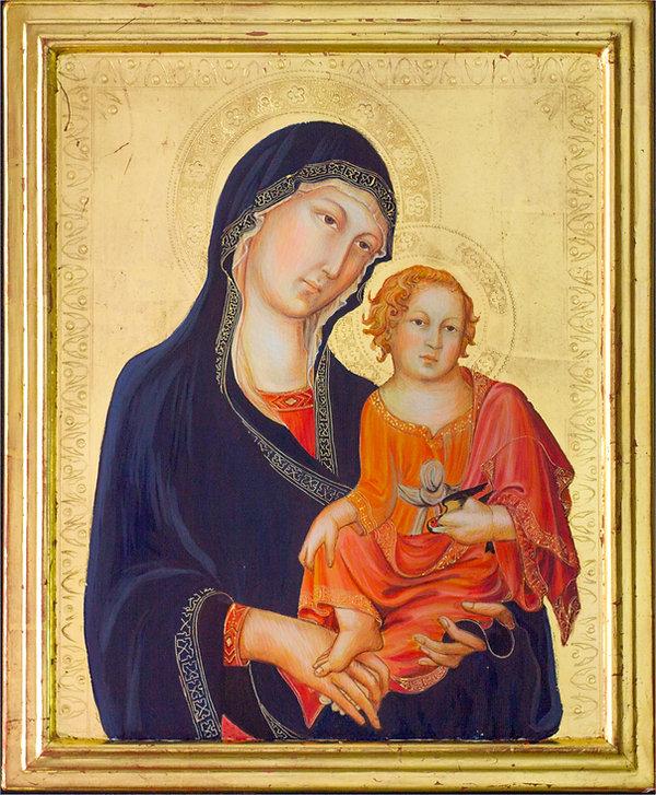 Opera ispirata ad un dipinto di Simone Martini, parte del Polittico già in Sant'Agostino a San Gemignano. Siena XIV secolo Tempera e oro su tavola