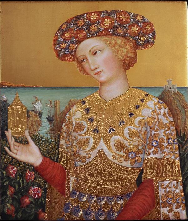 San Martino dona il mantello al povero Opera tratta da:Simone Martini Tecnica: Tempera e oro su tavola antica Siena XIV secolo. Dimensioni: cm.24 x 28