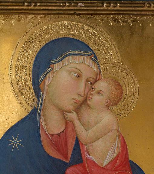 Opera tratta da bottega di Simone Martini, XIV secolo Tecnica: tempera e oro su tavola. Il dipinto è inserito in cornice originale dei primi del '900