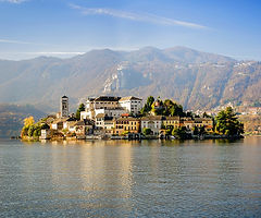 Lake Orta and a small village at the foot of he Alps in Piedmont, Piemonte, Italy