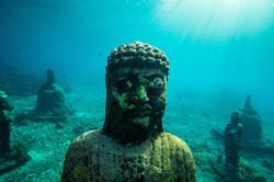 Underwater buddha scuba diving bali