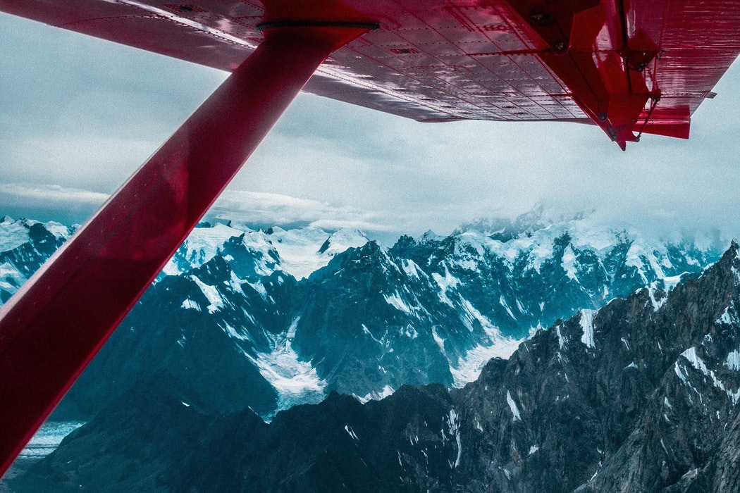 Flying over Denali mountain peaks