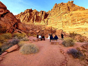 Minimony at Valley of Fire State Park Visitor Center in Nevada, Siello Weddings and Events + Cactus Collective Weddings