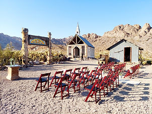 Wedding ceremony set up at Eldorado Canyon Ghost Town in Nevada, Siello Weddings and Events + Cactus Collective Weddings