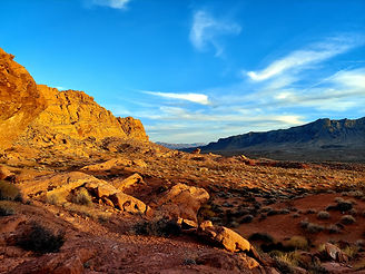 Wedding ceremony view at the Valley of Fire State Park Visitor Center in Nevada, Siello Weddings and Events + Cactus Collective Weddings