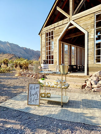 Cake and champagne at Eldorado Canyon Ghost Town, Siello Weddings and Events + Cactus Collective Weddings