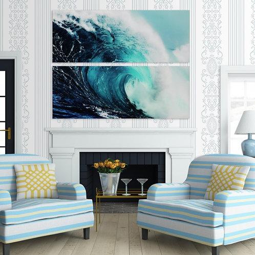 Glass Blue Wave Art