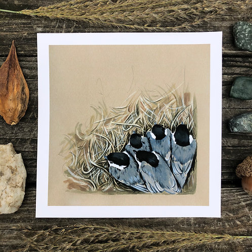 Cozy Chickadees in the Nest | Art Print