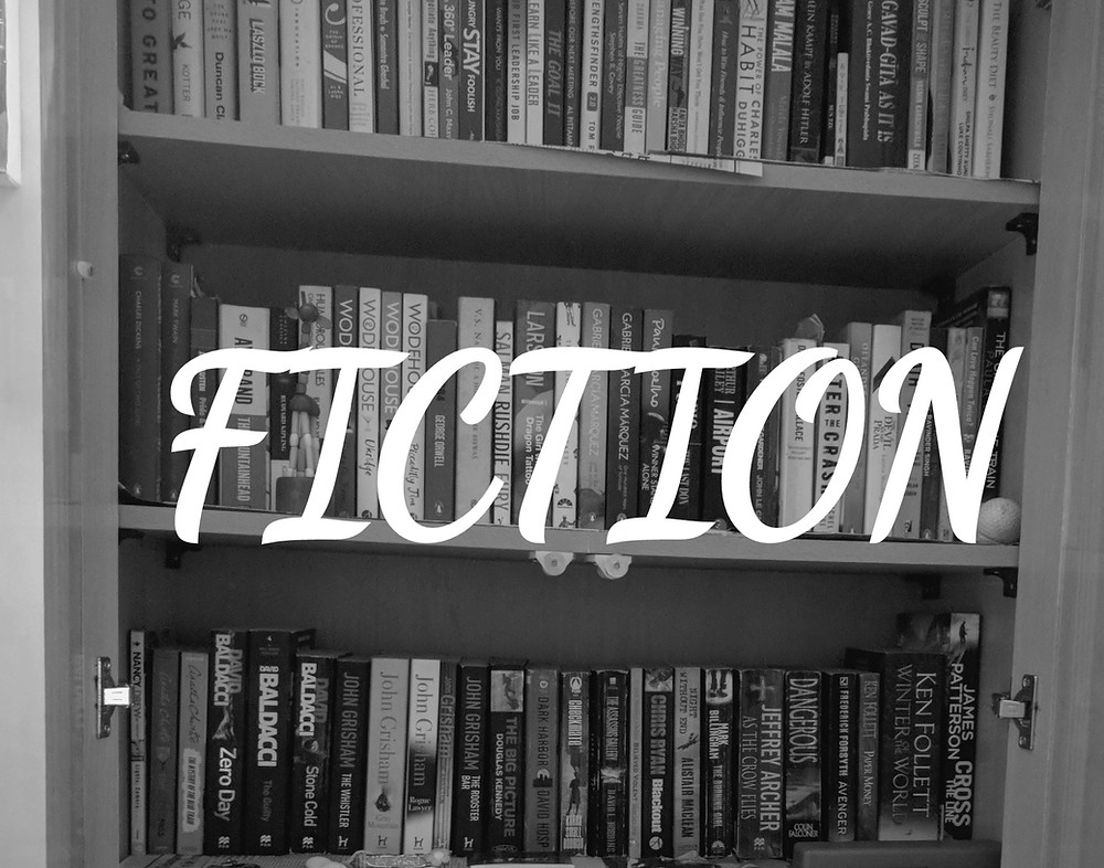 books collection with fiction title