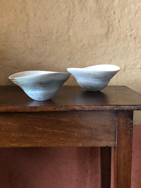 Porcelain bowls with woodash glaze