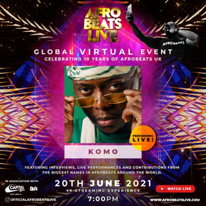 Komo performing on the Afrobeats Live X Global Virtual Event on the 20th of June 2021