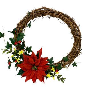 3 wreath with poinsettia holly jasmine a