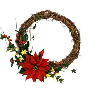 4 wreath with poinsettia holly jasmine i