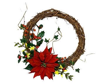 5 wreath with poinsettia holly jasmine i