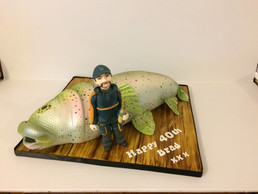 Sculpted fish and figure £170