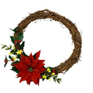 2 wreath with poinsettia holly and jasmi