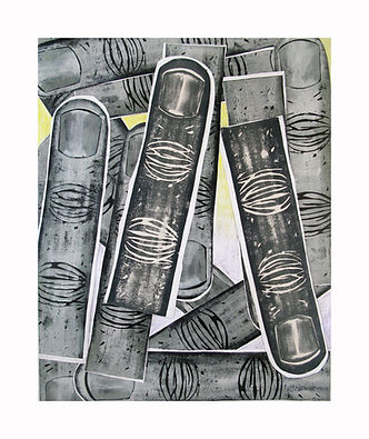 Fingers,-2011,-Acrylic,-block-print-coll