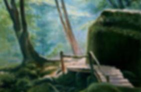 Горный пейзаж мостик в горах Авторская живопись Иван Пархоменко