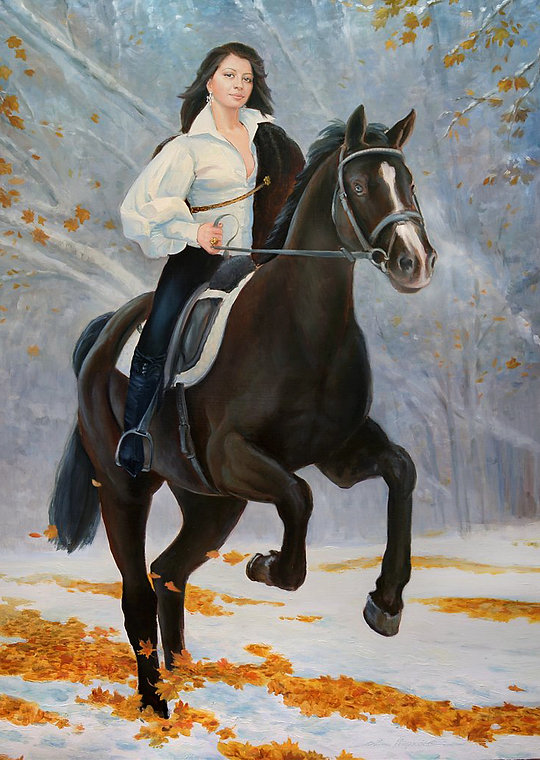 Портрет на заказ в России Всадница девушка на лошади первый снег жёлтая листва автор Иван Пархоменко